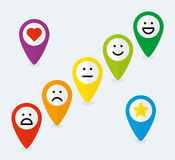 Grupo de ponteiros do mapa com emoticons ilustração do vetor