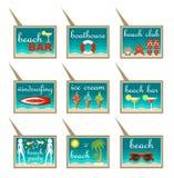 Grupo de ponteiros do mapa da praia Fotografia de Stock Royalty Free