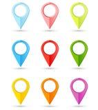 Grupo de ponteiros redondos da cor com lugar para seu índice Fotos de Stock