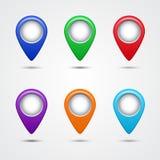 Grupo de ponteiros redondos do mapa Fotos de Stock Royalty Free