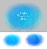 Grupo de ponto da aquarela do vetor Cores dos azuis celestes Imagem de Stock