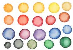 Grupo de pontos coloridos da aquarela diferente Fotografia de Stock