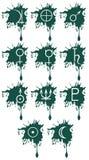 Grupo de pontos com símbolos dos planetas Fotografia de Stock Royalty Free