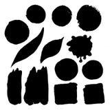 Grupo de pontos da aquarela em de tinta preta Imagem de Stock