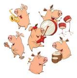 Grupo de porcos alegres cartoon Imagens de Stock