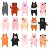 Grupo de porcos engraçados ilustração stock