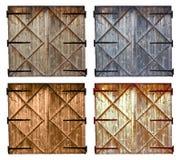 Grupo de porta de madeira do celeiro velho diferente das cores isolada no branco Imagens de Stock Royalty Free