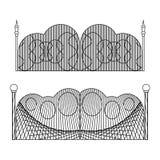 Grupo de portas do ferro forjado e de portas feitas do metal ilustração do vetor