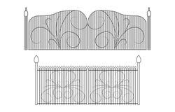 Grupo de portas do ferro forjado e de portas feitas do metal ilustração royalty free