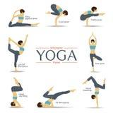Grupo de poses da ioga no projeto liso Infographics da ioga Foto de Stock