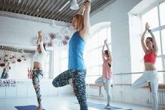 Grupo de poses praticando da ioga da mulher adulta Cuidados médicos e estilo de vida imagem de stock
