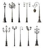 Grupo de postes de luz decorativos Fotografia de Stock