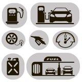 Grupo de posto de gasolina preto dos ícones do vetor ilustração royalty free