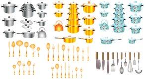 Grupo de potenciômetros e de bandejas da cozinha Ilustração do Vetor