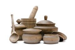 Grupo de potenciômetros de madeira crockery fotografia de stock royalty free