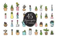 Grupo de 45 potenciômetros e vasos de flor Projeto tirado mão do vetor Fotos de Stock Royalty Free