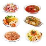 Grupo de poucas placas com alimento Fotografia de Stock