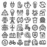 Grupo de poupança de energia do ícone, estilo do esboço ilustração do vetor