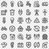 Grupo de poupança de energia do ícone, estilo do esboço foto de stock