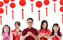 Grupo de povo chinês que cumprimenta Fotos de Stock Royalty Free