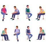 Grupo de povos de assento que falam com ícones lisos do amigo ilustração do vetor