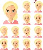 Grupo de povos diferentes da mulher do avatar no estilo liso colorido Fotografia de Stock