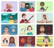 Grupo de povos diferentes em vídeos do Internet imagem de stock