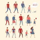 Grupo de povos dos desenhos animados em vários estilos de vida e idades Imagens de Stock