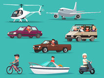 Grupo de povos e de veículos Aviões, helicópteros, carros, bicicleta motorizada, ilustração do vetor