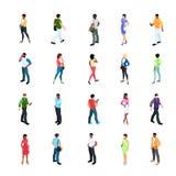 Grupo de povos isométricos com cor da pele diferente ilustração do vetor