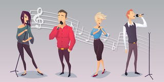 grupo de povos que cantam no fundo branco Estilo dos desenhos animados Foto de Stock Royalty Free