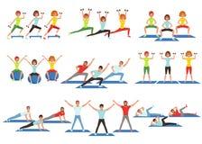 Grupo de povos que dão certo no gym Moças e indivíduos que fazem exercícios Atividade física Estilo de vida saudável Homens e ilustração royalty free