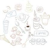 Grupo de pratos do café, bolos, pastelarias Fotos de Stock Royalty Free