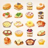 Grupo de pratos do café da manhã ilustração royalty free