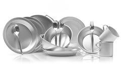 Grupo de pratos do metal Fotografia de Stock Royalty Free