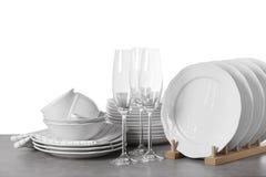 Grupo de pratos limpos imagens de stock