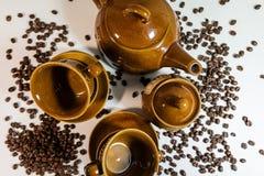 Grupo de pratos para o café Grupo de café Café fotos de stock royalty free