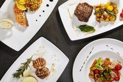Grupo de pratos principais com peixes imagem de stock royalty free