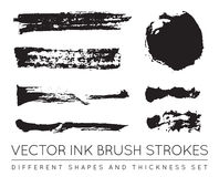 Grupo de preto Pen Ink Brush Strokes do vetor Escova Stro da tinta do Grunge Fotos de Stock