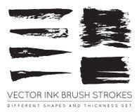 Grupo de preto Pen Ink Brush Strokes do vetor Escova Stro da tinta do Grunge Fotos de Stock Royalty Free