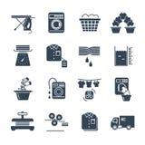 Grupo de produção preta do serviço de lavanderia dos ícones ilustração do vetor