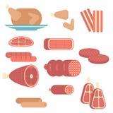 Grupo de produtos de carne ilustração do vetor