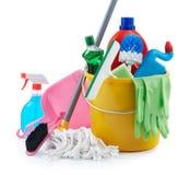 Grupo de produtos de limpeza Fotografia de Stock