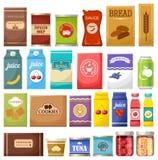 Grupo de produtos diferentes ilustração stock