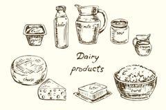 Grupo de produtos láteos Fotografia de Stock