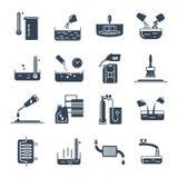 Grupo de produtos químicos de agregado familiar pretos dos ícones, ferramenta ilustração stock