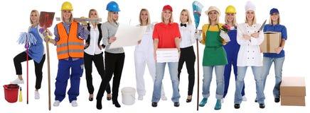 Grupo de profesionales de las mujeres de las profesiones de los trabajadores que colocan occupa Fotografía de archivo libre de regalías