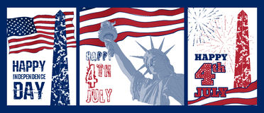 Grupo de projeto da arte da estátua da liberdade com bandeira americana Imagens de Stock