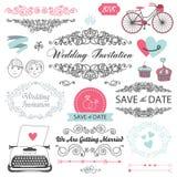 Grupo de projeto do convite do casamento do vintage do vetor Fotos de Stock