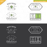 Grupo de projeto do logotipo da cerveja do vintage com ornamento da folha Imagens de Stock